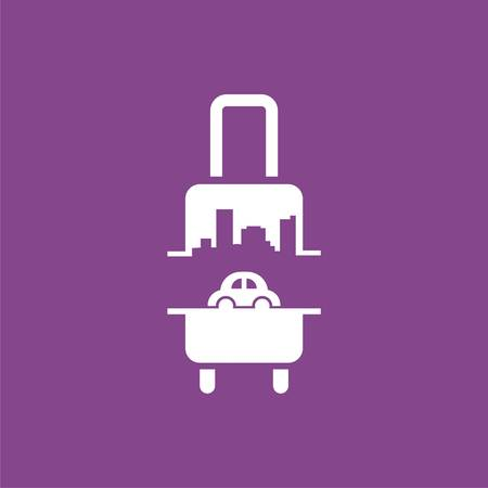 logo with suitcase, car and city. Vector design logo. Vector illustration Illustration