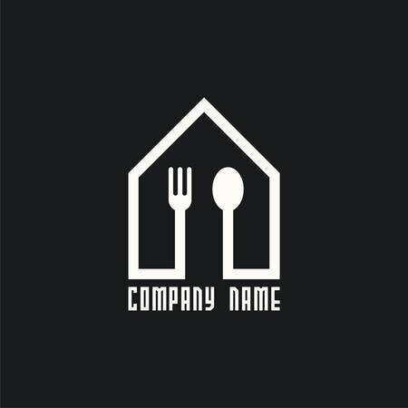 logo house with spoon and fork. Place for dinner. Logo for cafe or restaurant. Vector illustration