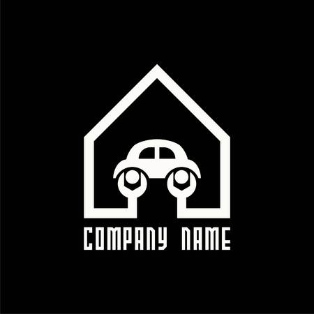 logo with house and spanners and car in it. Vector logo for service station, repair car company. Label design. Vector Illustration. Illustration