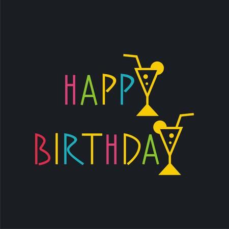 Vector birthday card with wineglasses. Vector illustration Illustration
