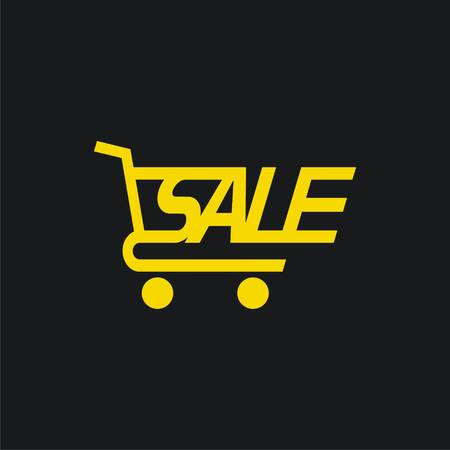 Sale cart icon. Sale tag template. Vector illustration