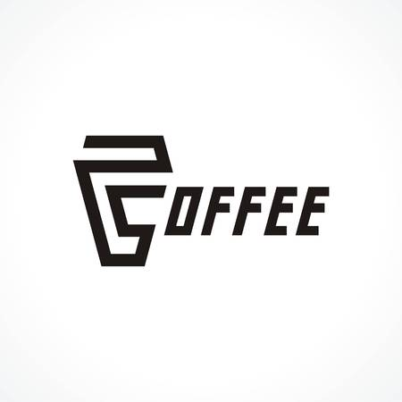 coffee company: logo with cup and text coffee. Modern Icon for company brand. Vector Illustration. Illustration