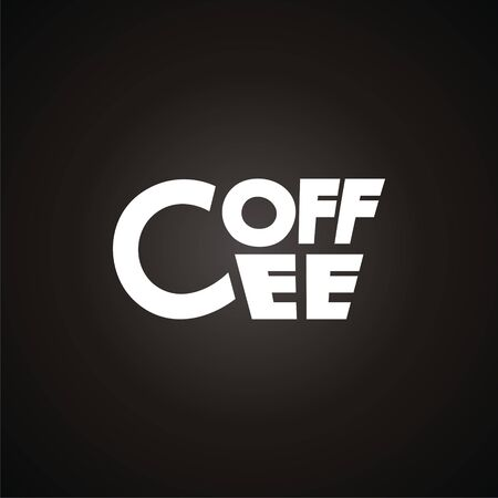 coffee company: logo with cup made like text Coffee. Modern Icon for company brand. Vector Illustration.