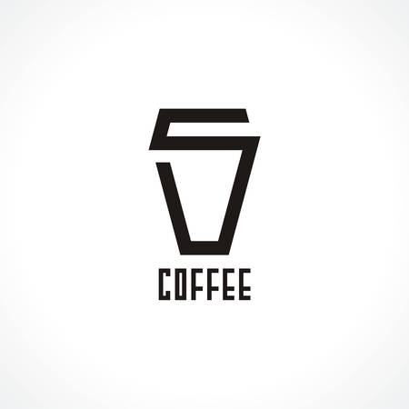 coffee company: logo with cup of coffee. Modern Icon for company brand. Vector Illustration.