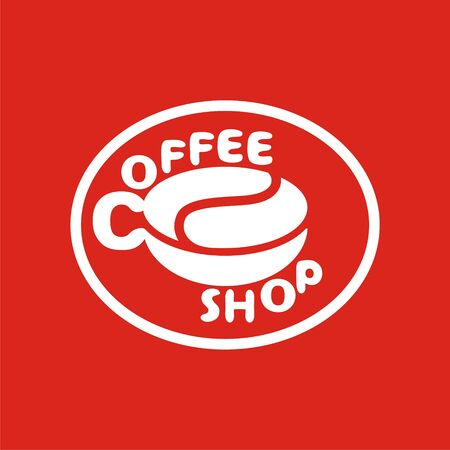 coffee company: logo with coffee bean with cup of coffee. Modern Icon for company brand. Vector Illustration.