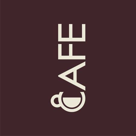 logo with cup and text cafe. Modern Icon for company brand. Vector Illustration. Illustration