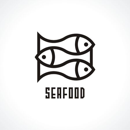 Fish isolated vector icon. Seafood icon. Logo for restaurant. Vector illustration