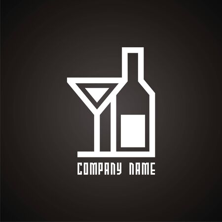 Vector logo bottle and wineglass. Modern Icon and sign design. Vector Illustration.