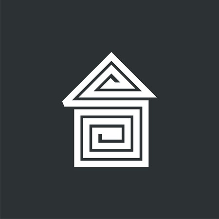 logo house and helix in it. Vector logo design. Vector Illustration.