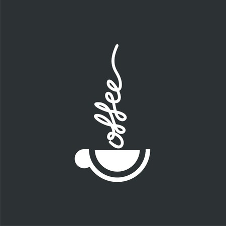 logo with cup of hot coffee. Modern Icon for company brand. Vector Illustration. Ilustração