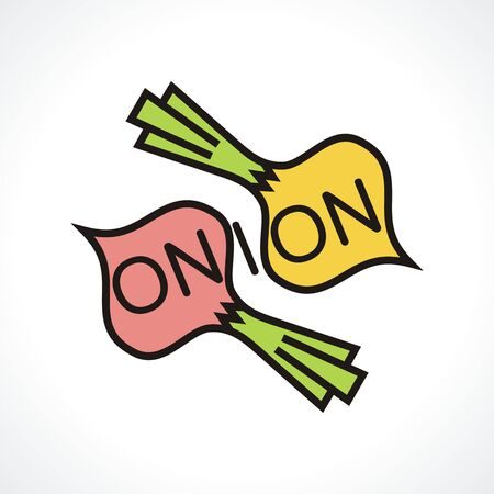 logo with onions. Logo for company. Vector illustration