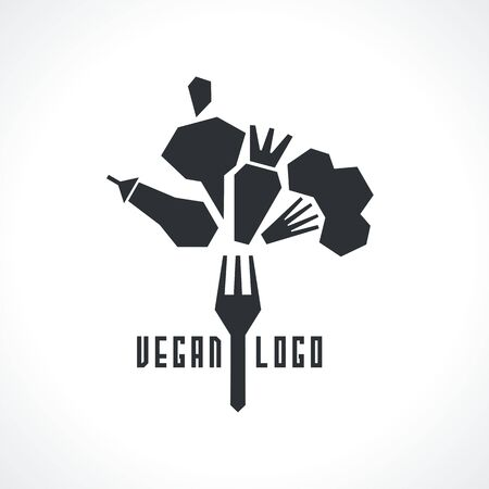 vector logo with vegetables. Modern Icon for company brand. Vector illustration. Stock Illustratie