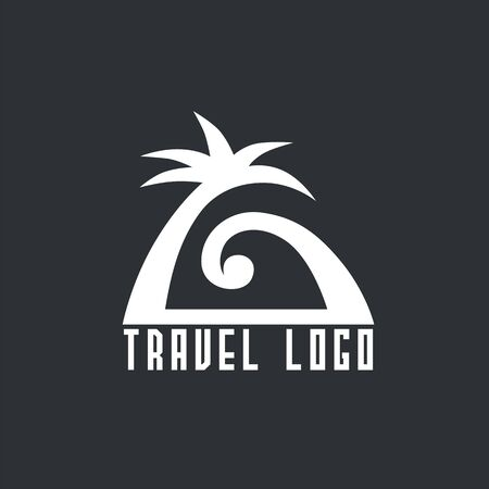 logo with palm and sea wave. Vector design logo for travel agency. Vector illustration