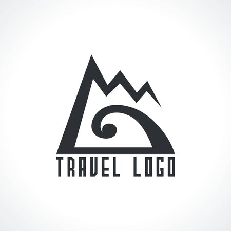 logo with mountains and sea wave. Vector design logo for travel agency. Vector illustration