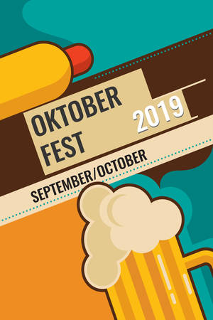 Octoberfest festival symbols. Full glass of beer with foam, hot dog and wheat ears for october fest holiday, on yellow background. Octoberfest Beer pub vector illustration.