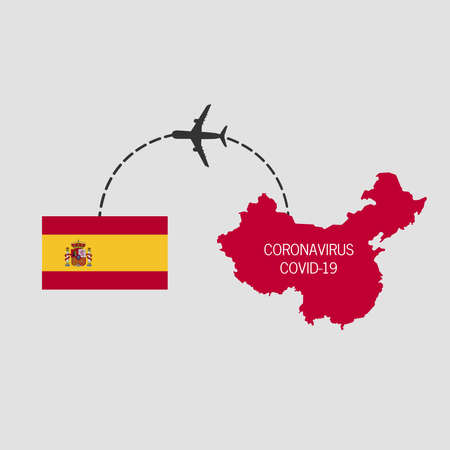 Covid-19, middle East respiratory syndrome coronavirus, icon of departure of coronavirus-charged plane and arriving in Spain. Illusztráció
