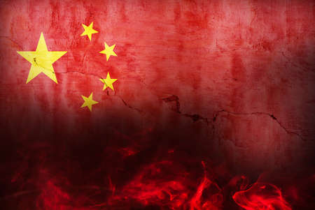 China Burning Fire Flag War Conflict Night