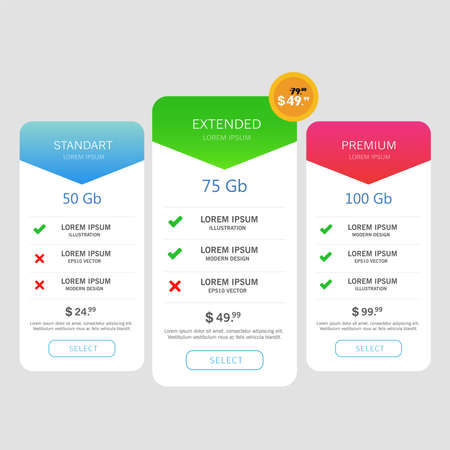 three tariffs. interface for the site. ui ux vector banner for app.