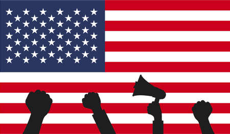 Protest in USA. Illustration with United states of America flag.