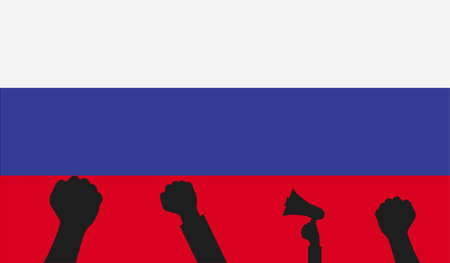 Protest in Russia. Vector Illustration with Russia flag.