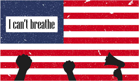 I can not breathe concept. Protest in USA. Illustration with United states of America flag.