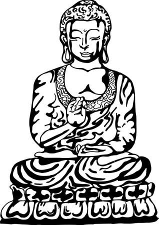Buddha in meditation in the style of street art. Vector illustration of a black and white buddha