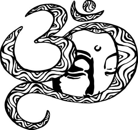 om sign: The face of the Buddha is inscribed in the om. Black and white illustration. Buddhism. Illustration