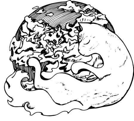 Illustration of a cat embracing a planet. Cat with closed eyes and clouds.