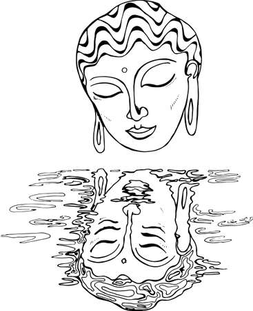 An illustration of a buddha and his reflection. Black and white drawing Illustration