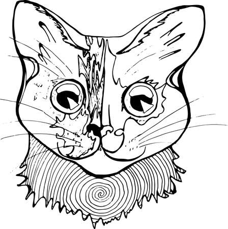 wierd: An illustration of a psychodelic cat. Black and white drawing of a cat.