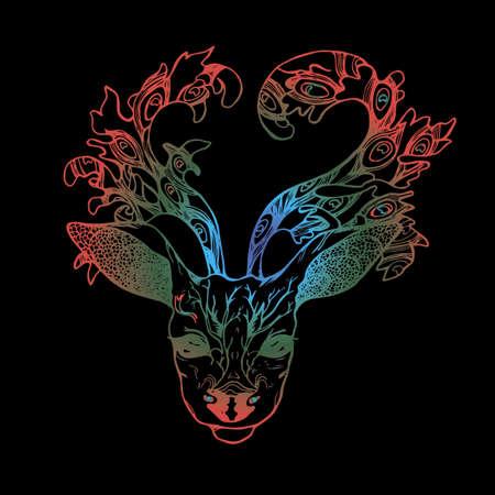 Illustratie van een hert met pauwenveren in hoorns. Kleurverloop vector van ingerichte herten