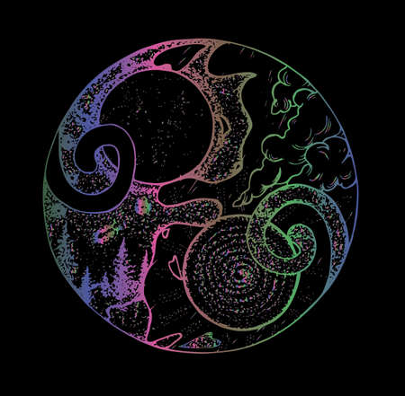 Illustrated symbol of yin yang with two cats. Landscapes of day and night in them. Color gradient Ilustracja