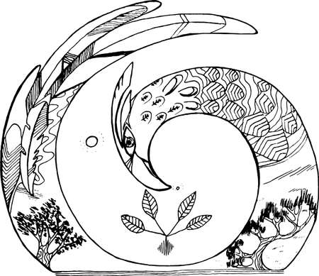 Zwart en wit beeld van een vogel in een spiraalvormige whith binnen bomen. Stockfoto - 90395791