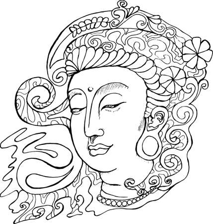 Black and white illustration of Guan yin. Stylized deity Guan yin. Иллюстрация