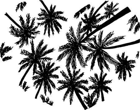 Black and white illustration of silhouettes of palms inscribed in the heart. Bottom view. Çizim