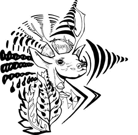 Black and white picture of a psychedelic deer with plants and patterns.