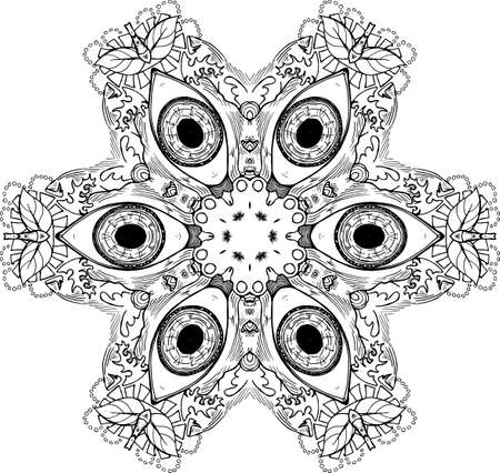 Black and white mandala with eyes. The idea for a tattoo. Illustration