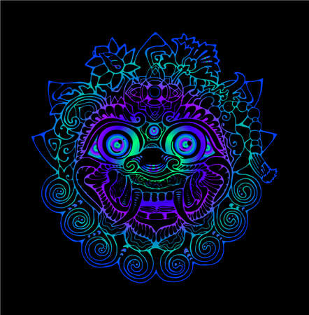 Colorful illustration of a Thai mask. Black and white drawing of the eastern deity.