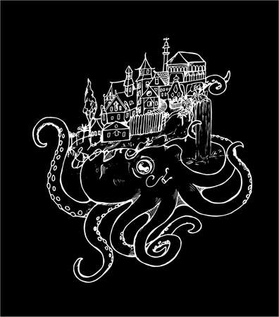 Illustration of an octopus with an old city. Black and white drawing. Chalk on a blackboard. Illustration