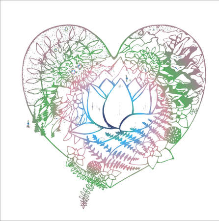 Color drawing of the heart, in which the lotus, fern, cone, mountains, clouds, trees.