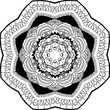 Black and white illustration of a mandala - a flower of life. Mehendi.