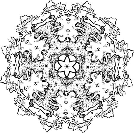 An illustration of a black and white mandala. Cosmic flower of life. The idea for a tattoo. Fractal ornaments