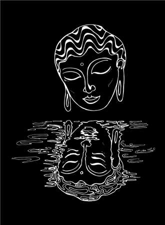 An illustration of a buddha and his reflection. Black and white drawing. Chalk on a blackboard.