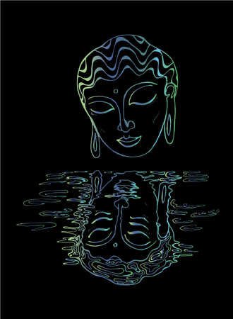 A gradient illustration of a buddha and his reflection. Colorful drawing