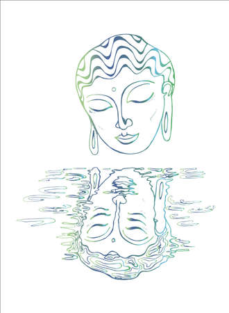 An illustration of a Buddha and his reflection. Color drawing.