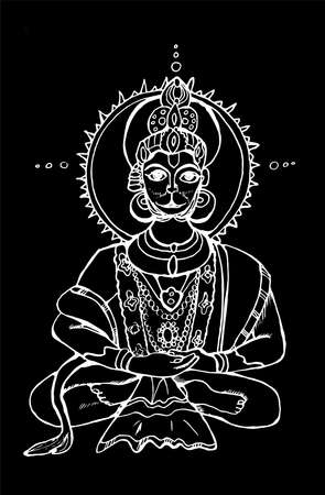 Black and white illustration of the Indian Hanuman deity