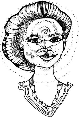 Black and white vector of beauty indian girl and spiral. The power of thought.