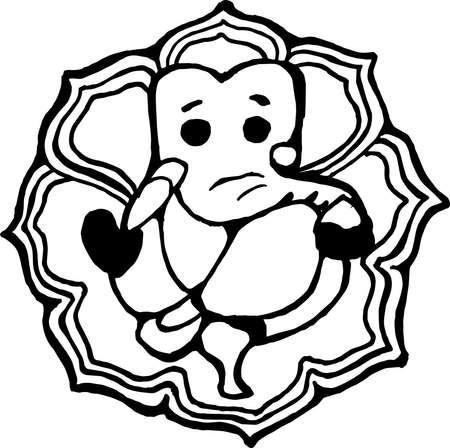 An illustration of the Indian deity Ganesha - a symbol of prosperity. Minimalism style.