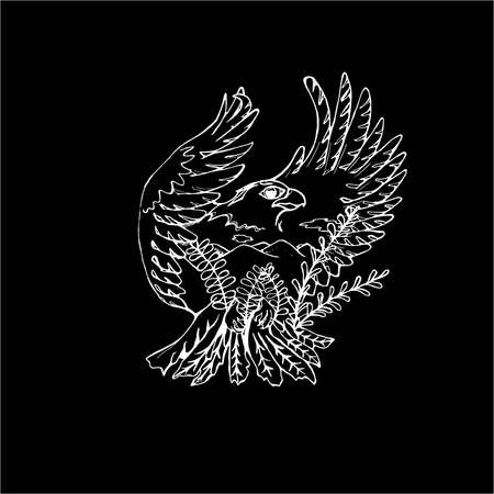 Black and white drawing of an eagle. Double exposure Stockfoto