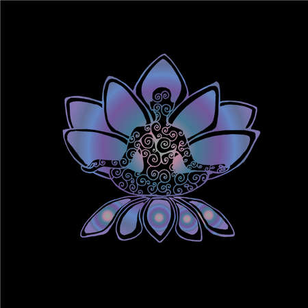 Color graphic illustration of a meditating man. The idea for a tattoo or a print. Lotus and spirals.